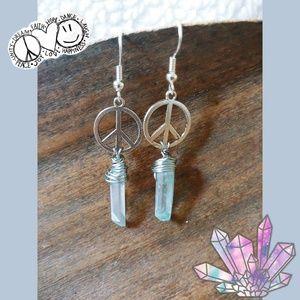 Blue Quartz Crystal Earrings ☮️
